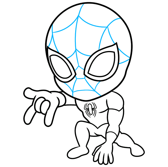 How to Draw Chibi Spider-Man: Step 6