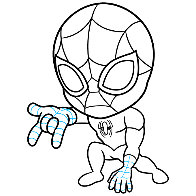 How to Draw Chibi Spider-Man: Step 7