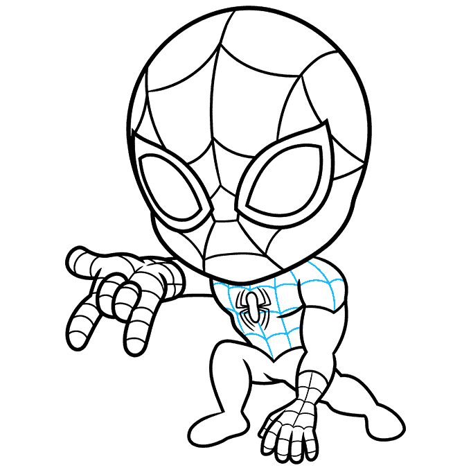 How to Draw Chibi Spider-Man: Step 8
