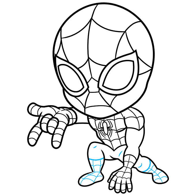 How to Draw Chibi Spider-Man: Step 9