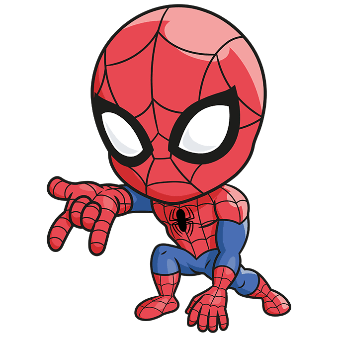 How to Draw Chibi Spider-Man: Step 10