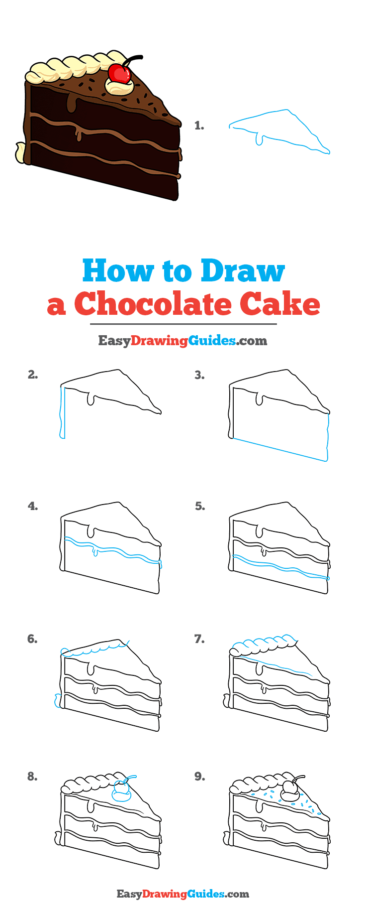 How to Draw a Chocolate Cake Step by Step Tutorial Image