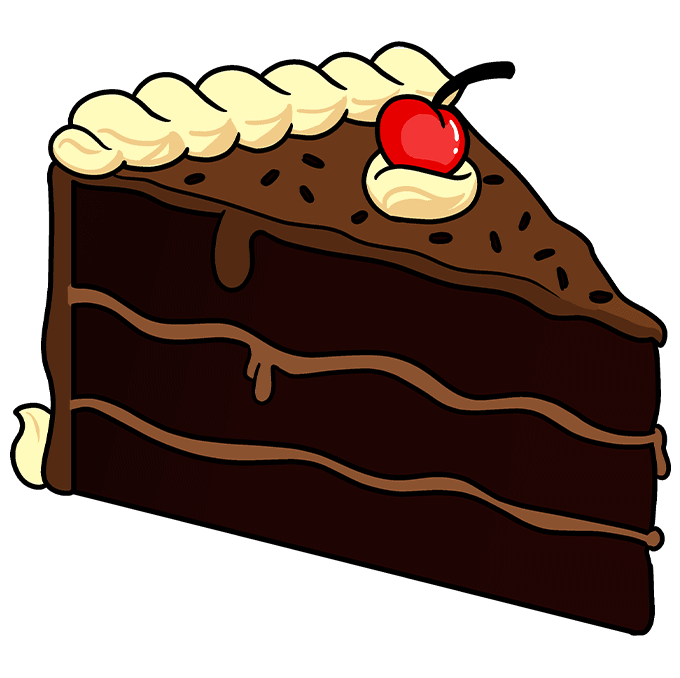 How to Draw a Chocolate Cake Step 10