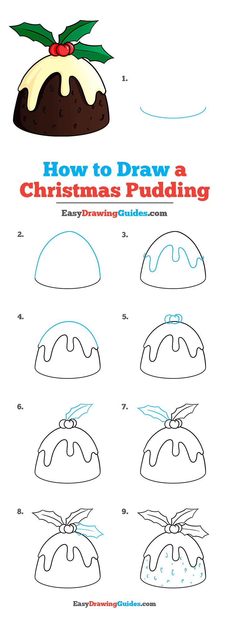 How to Draw a Christmas Pudding Step by Step Tutorial Image