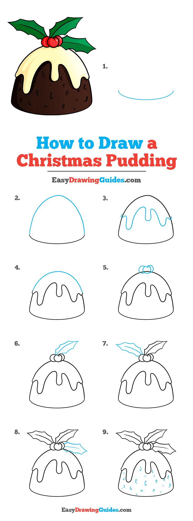 How to Draw Christmas Pudding