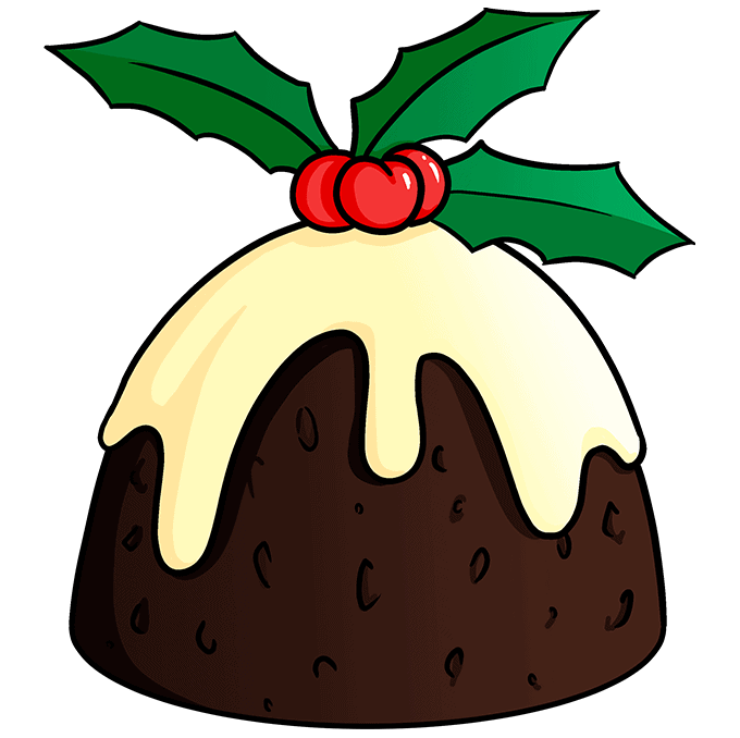 How to Draw Christmas Pudding: Step 10