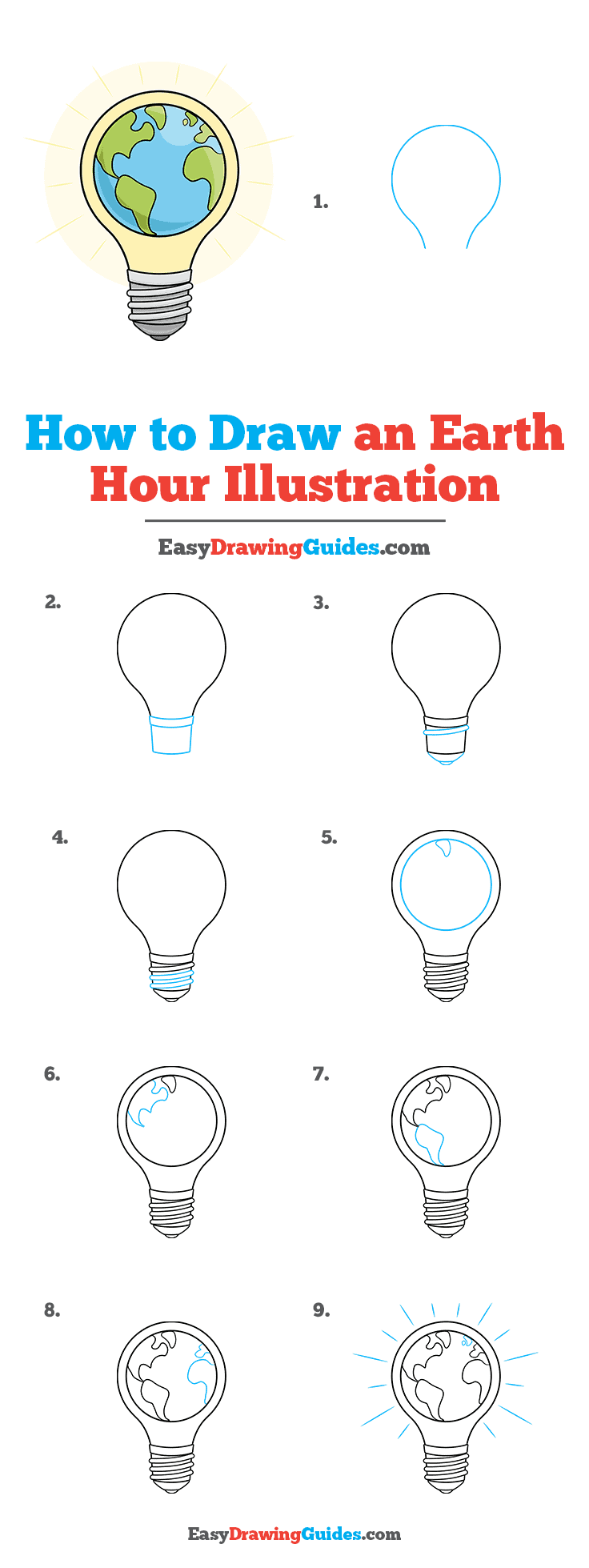 How to Draw an Earth Hour Illustration Step by Step Tutorial