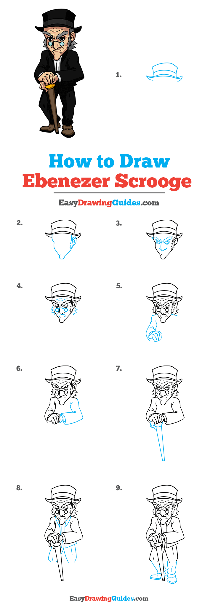 How to Draw Ebenezer Scrooge from A Christmas Carol Step by Step Tutorial Image