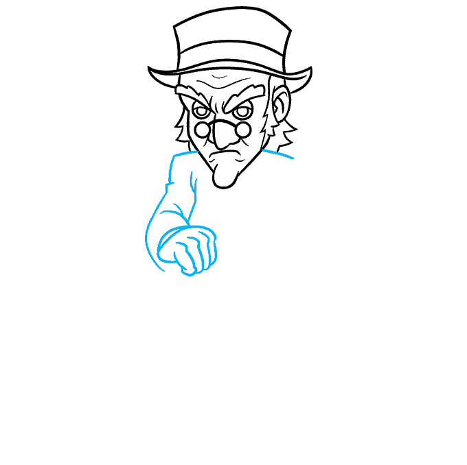 How to Draw Ebenezer Scrooge from A Christmas Carol Step 05