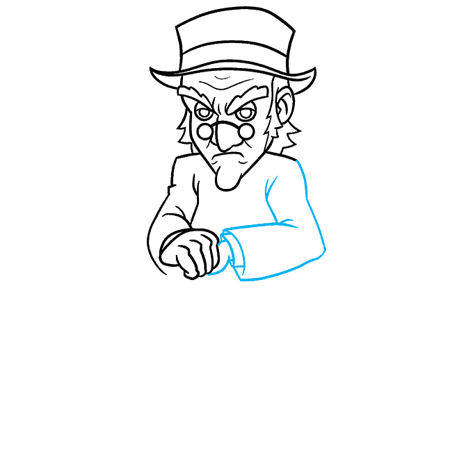 How to Draw Ebenezer Scrooge from A Christmas Carol Step 06