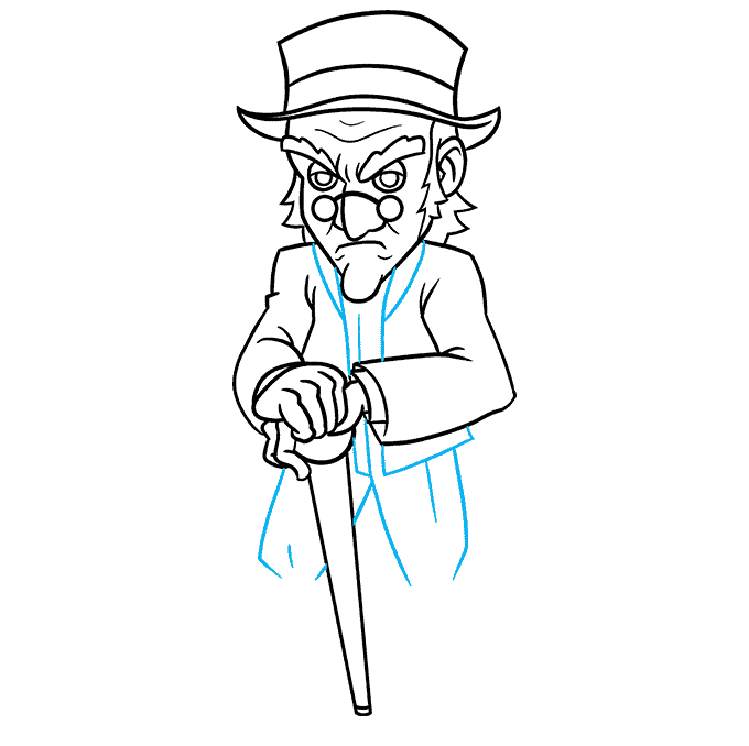 How to Draw Ebenezer Scrooge from A Christmas Carol Step 08