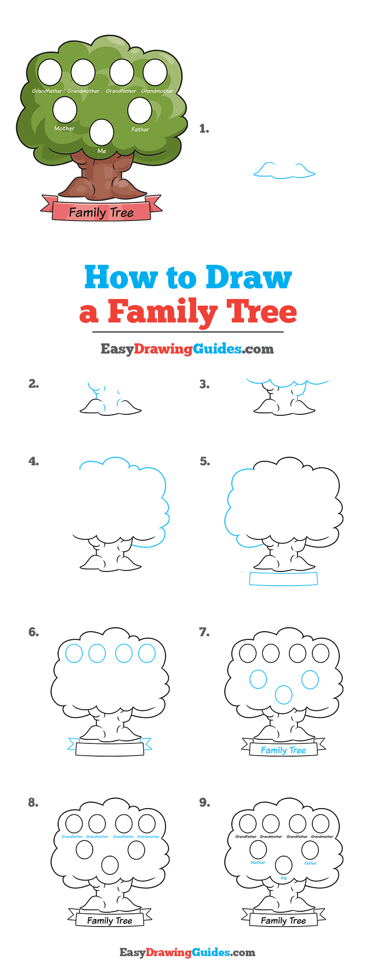 how to Draw a Family Tree Step by Step Tutorial Image