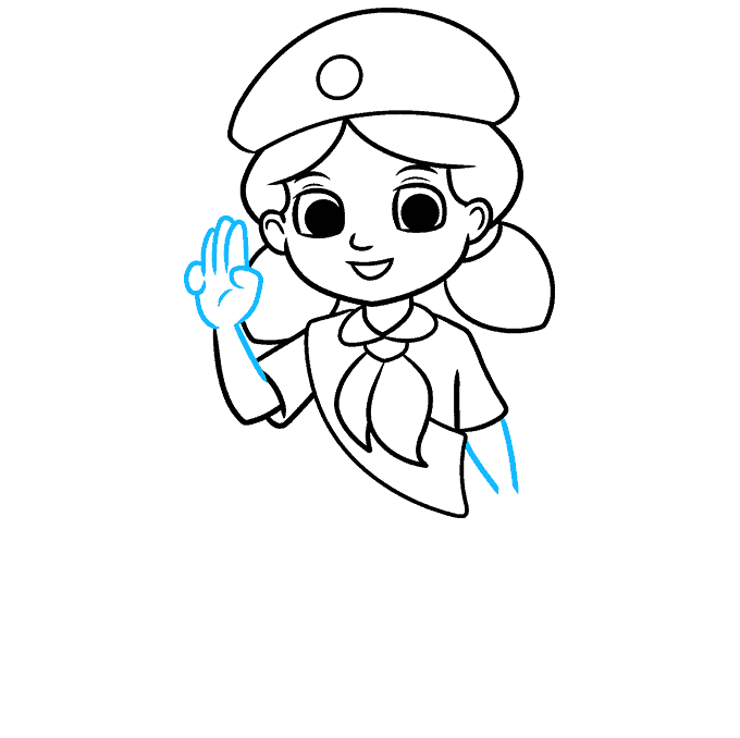 How to Draw Girl Scout: Step 6