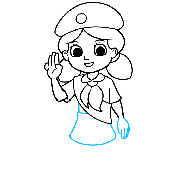 How to Draw Girl Scout: Step 7