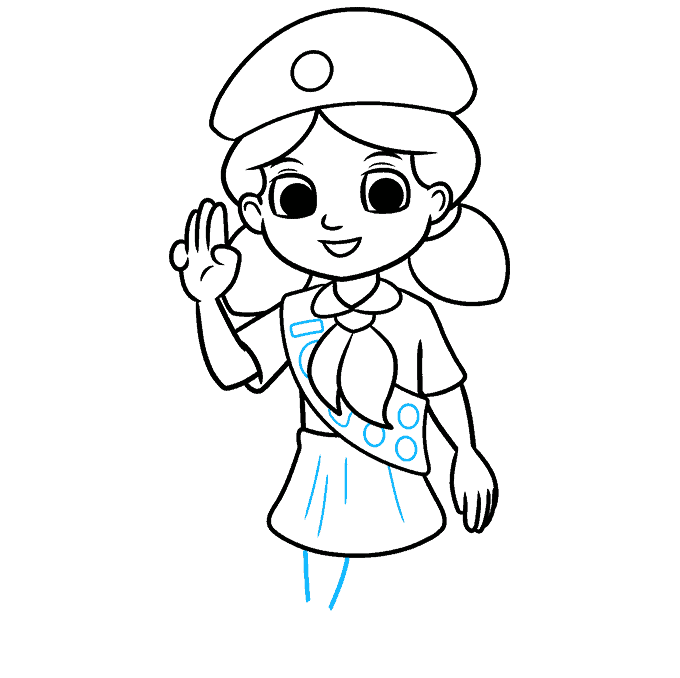 How to Draw Girl Scout: Step 8