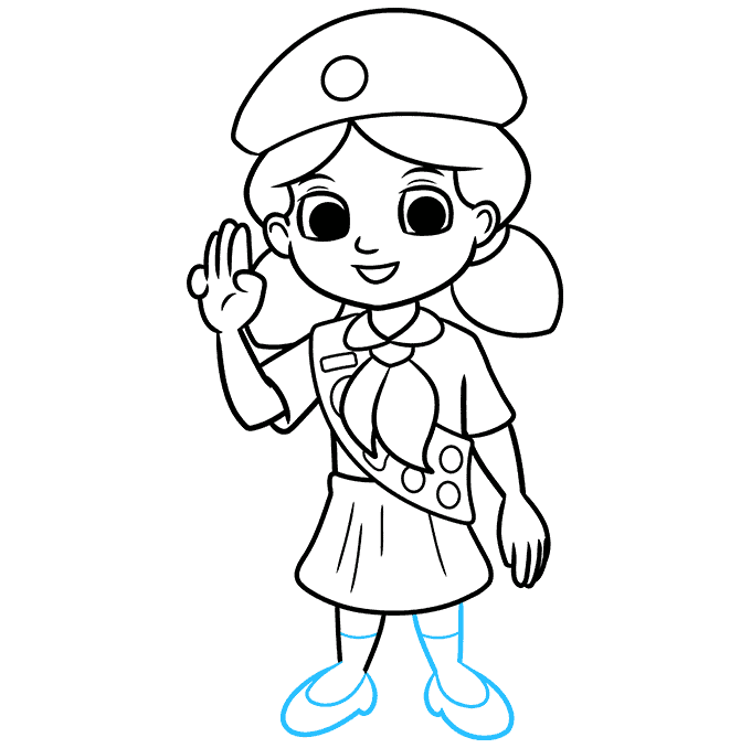 How to Draw Girl Scout: Step 9