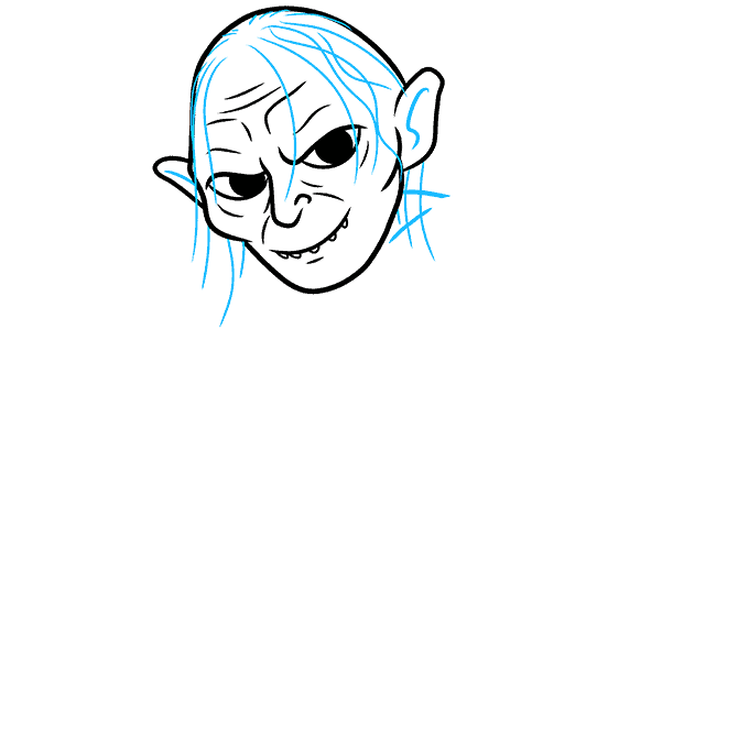 How to Draw Gollum: Step 4