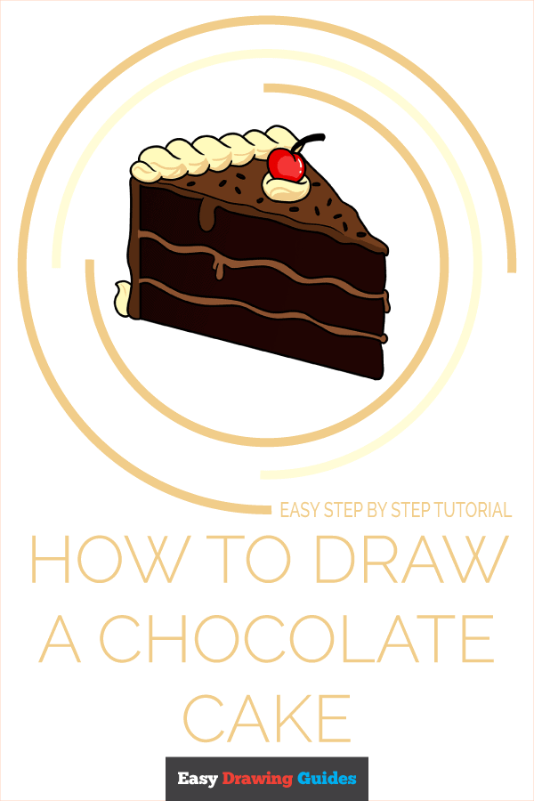 How to Draw Chocolate Cake | Share to Pinterest