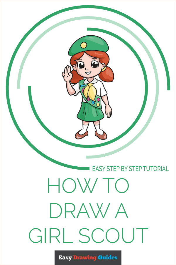 How to Draw Girl Scout   Share to Pinterest