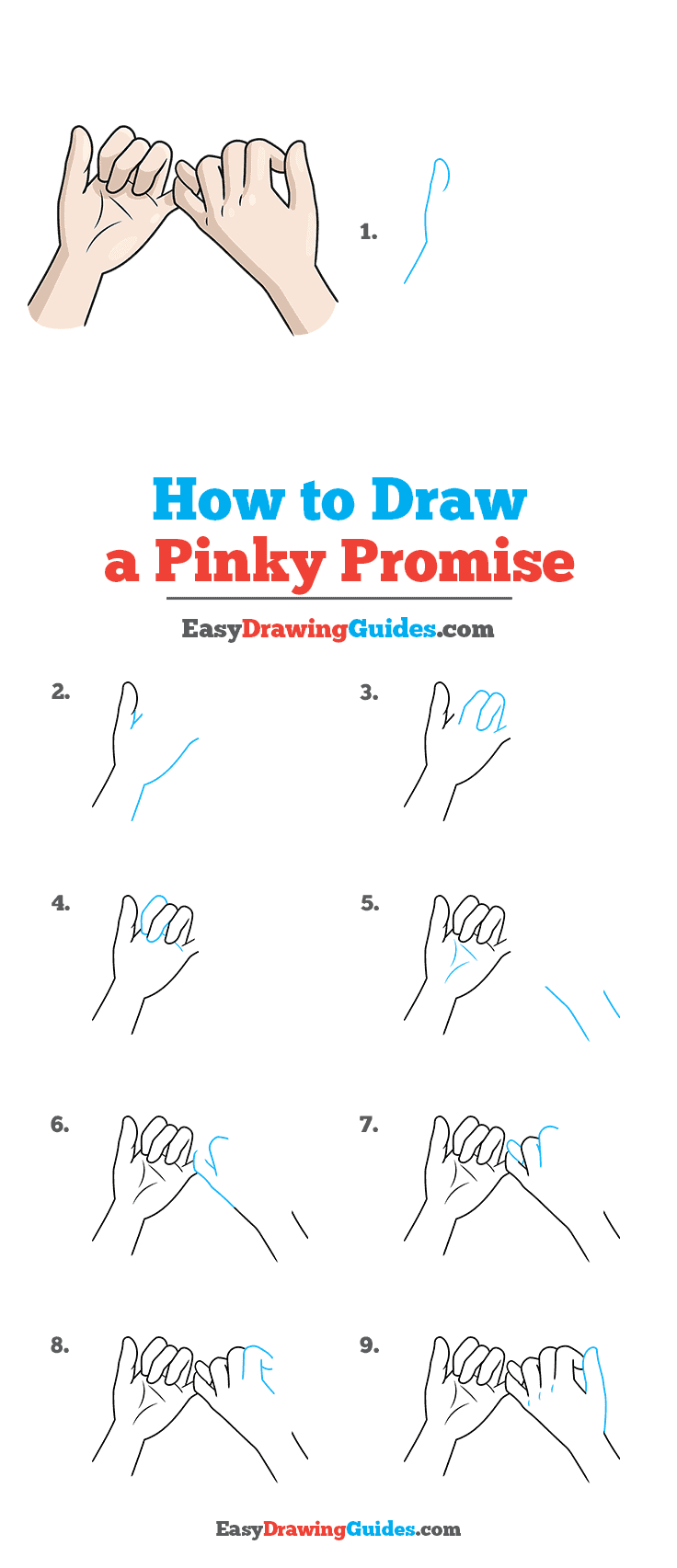 How to Draw a Pinky Promise Step by Step Tutorial Image