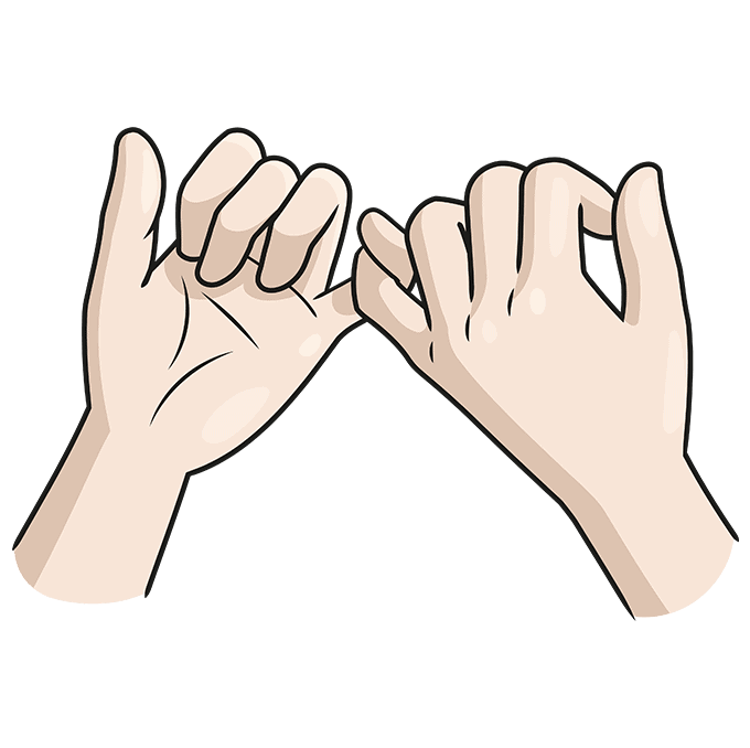 How to Draw a Pinky Promise Step 10