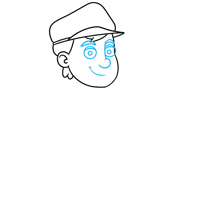 How to Draw Postman: Step 4