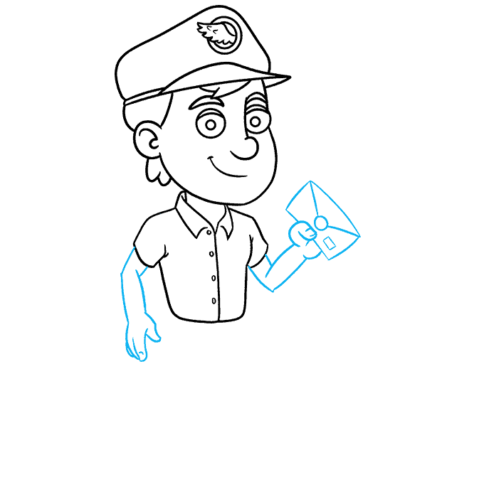 How to Draw Postman: Step 7