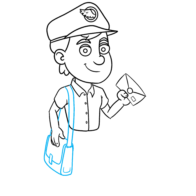 How to Draw Postman: Step 8