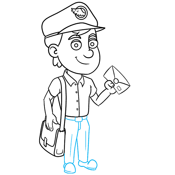 How to Draw Postman: Step 9