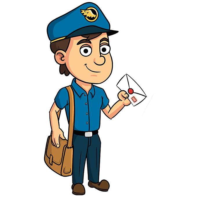 How to Draw Postman: Step 10