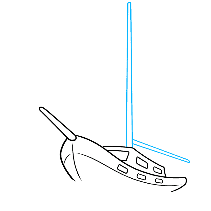 How to Draw Sailboat: Step 5