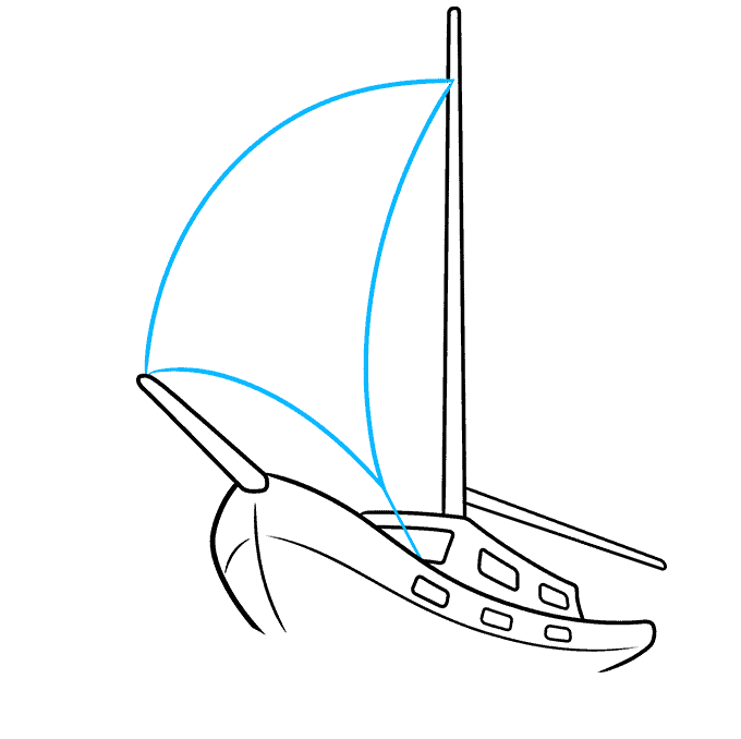 How to Draw Sailboat: Step 6