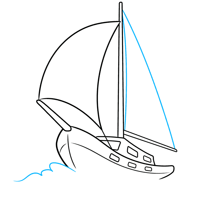 How to Draw Sailboat: Step 7