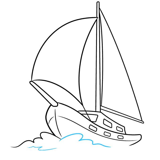 How to Draw Sailboat: Step 8
