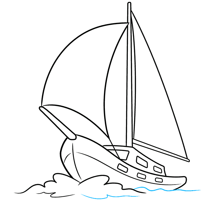 How to Draw Sailboat: Step 9