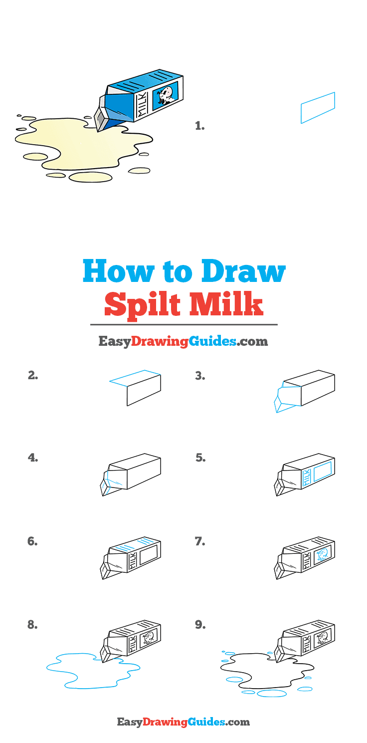 How to Draw Spilt Milk Step by Step Tutorial Image