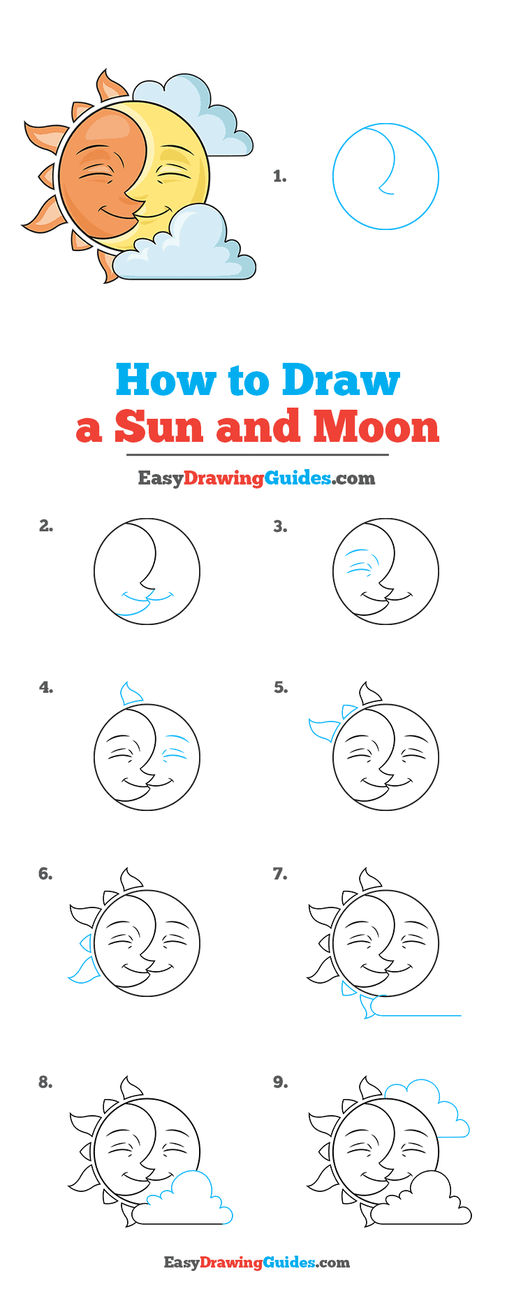 how to Draw a Sun and Moon Step by Step Tutorial Image