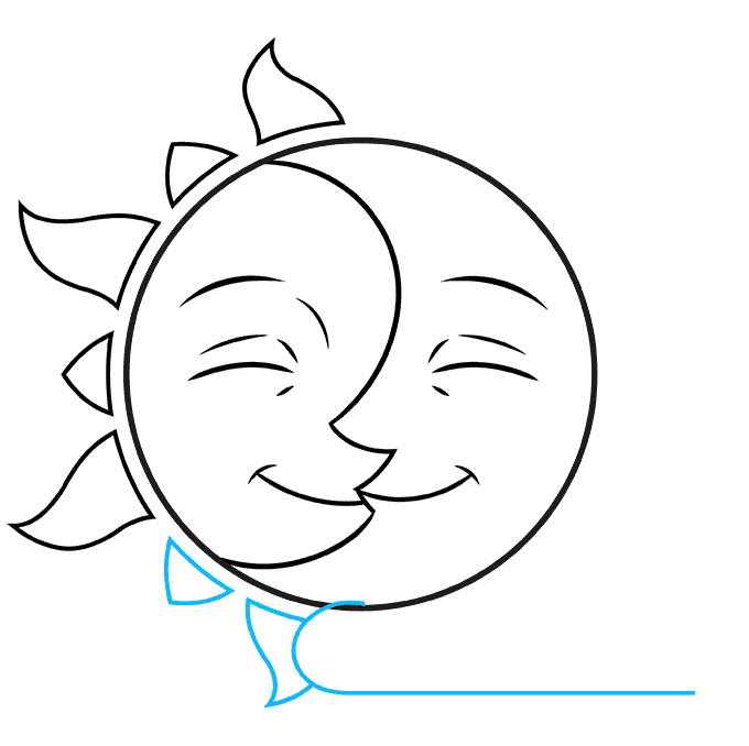 How to Draw Sun and Moon: Step 7