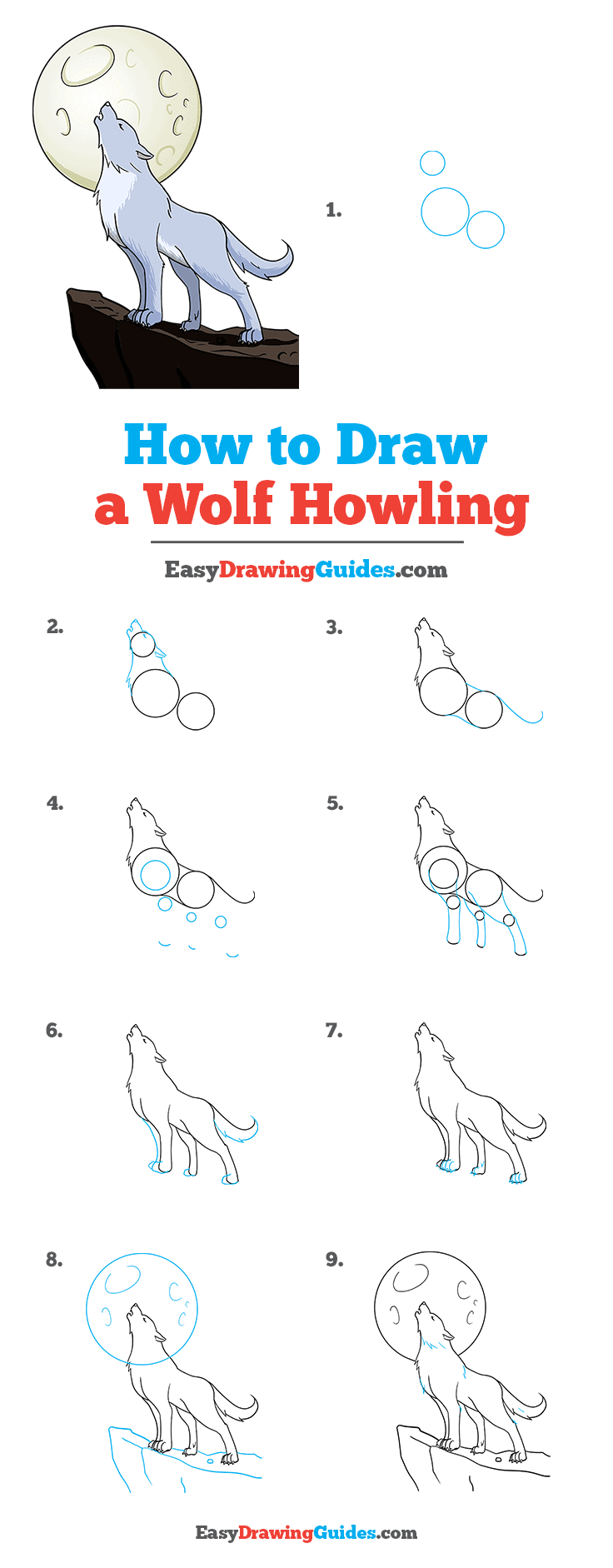 How to Draw a Wolf Howling Pinterest Image