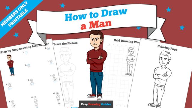 download a printable PDF of Man drawing tutorial