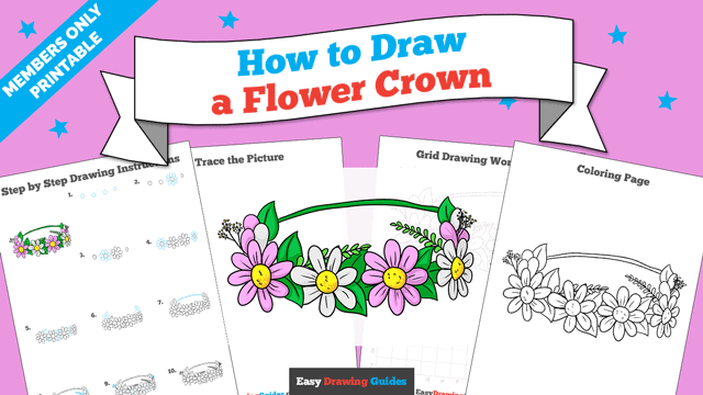 Printables thumbnail: How to Draw a Flower Crown