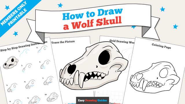 download a printable PDF of Wolf Skull drawing tutorial