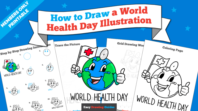 download a printable PDF of World Health Day Illustration drawing tutorial