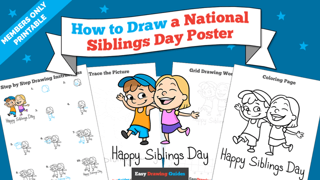 download a printable PDF of National Siblings Day Poster drawing tutorial