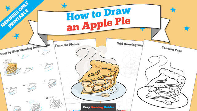 Printables thumbnail: How to Draw an Apple Pie