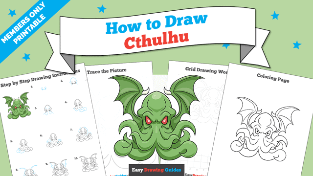 download a printable PDF of Cthulhu drawing tutorial