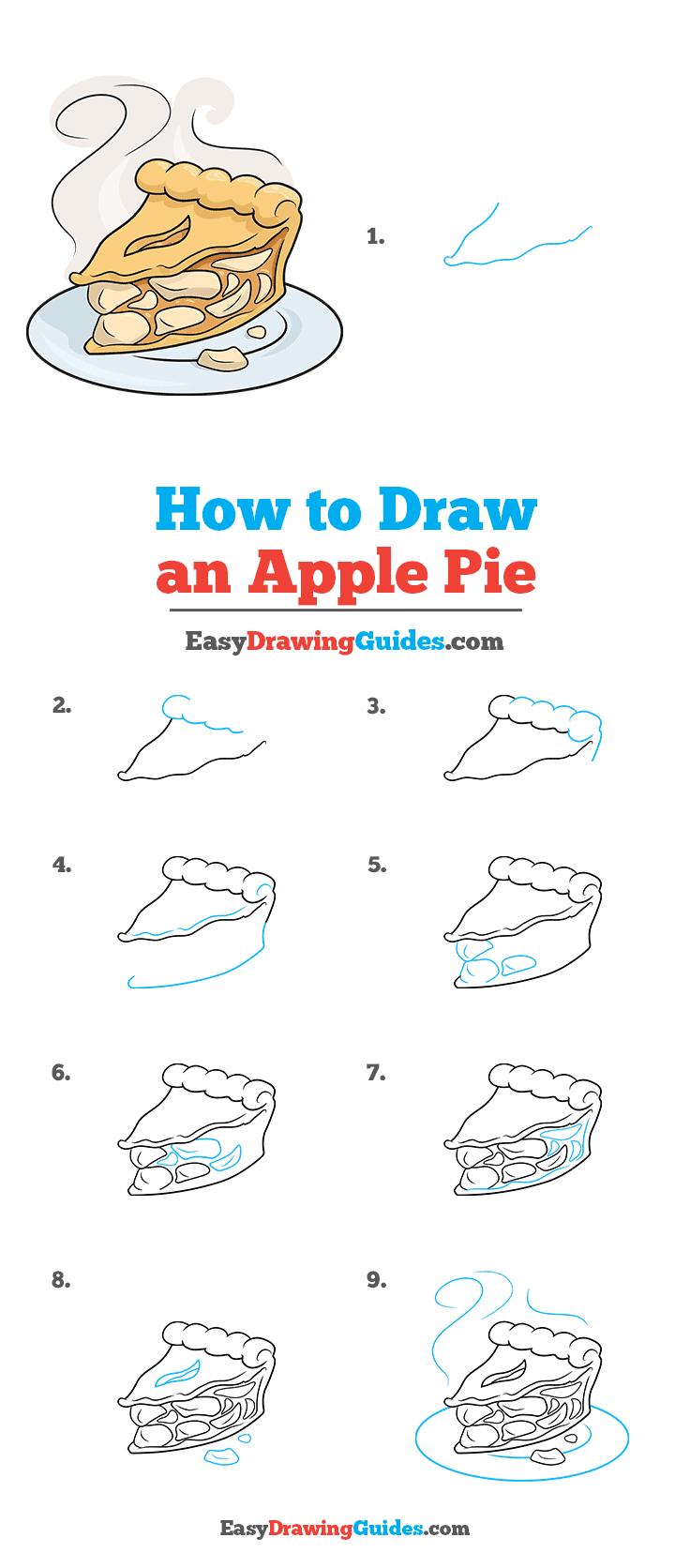 How to Draw an Apple Pie Step by Step Tutorial Image