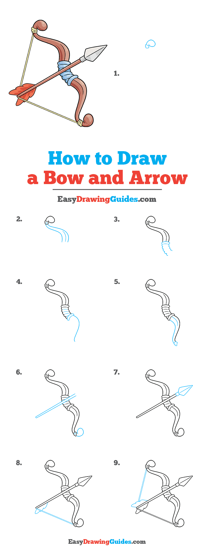 How to Draw a Bow and Arrow Step by Step Tutorial Image