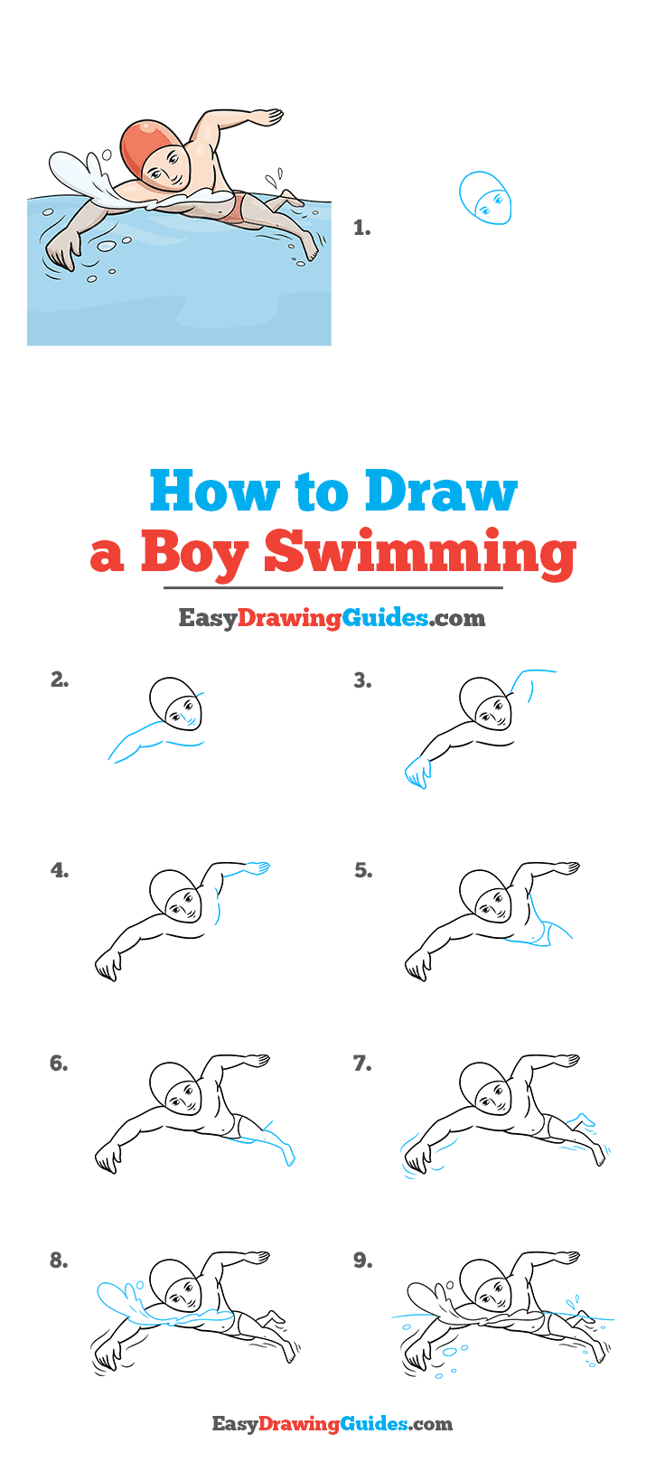 How to Draw a Boy Swimming Step by Step Tutorial Image
