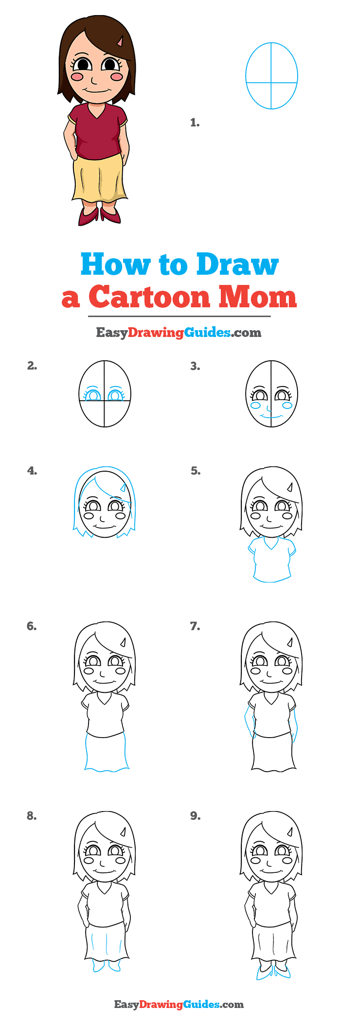 How to Draw Cartoon Mom